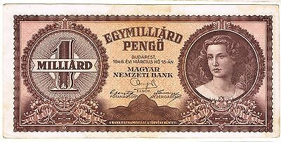 1946 Hungary 1 Milliard Pengo Circulated Bank Note Pick-125!!