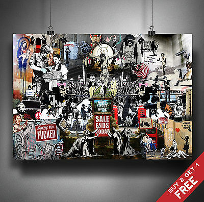 BANKSY TRIBUTE ALL GRAFFITI COLLAGE Poster A3/A4 Size Wall Art Print Decoration