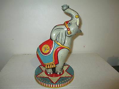 """Vintage 1940's 10"""" Tin Litho Flying Circus Elephant Made by Unique Art MFG Co"""