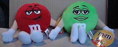 "Lot of 2 M&M 6""  Plush Red Guy & Green Girl"