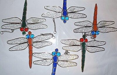 6-PIECE Handmade Stained Glass Dragonflies  [9046-18]