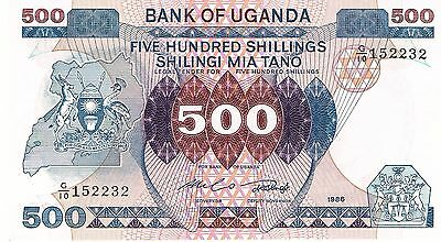 1986 Uganda 500 Shillings Crisp Uncirculated Bank Note P-25!!