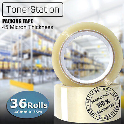 36 Rolls Heavy Duty Packing Tape Packaging Sticky Sealing Box Carton 48mm 75m