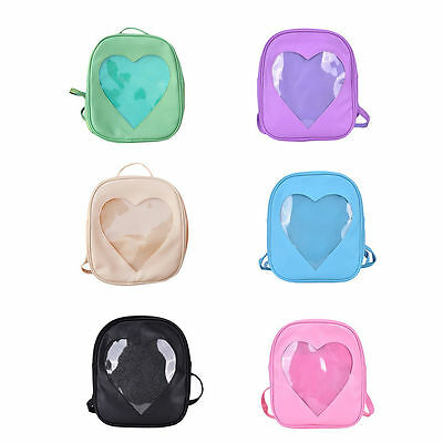 Cute Style Women Transparent Heart Shaped Backpack Travel Hiking Bags GD