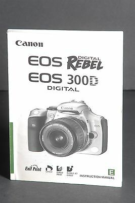 Canon Genuine EOS Digital Rebel / 300D Instruction Book / Manual / User Guide