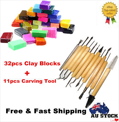 32PCS DIY Craft Malleable Fimo Polymer Modelling Soft Clay Block + Carving Tool