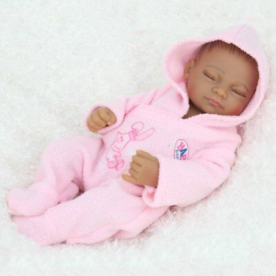 "Full body Silicone 10"" Lifelike Reborn Baby Doll African American Girl Gift Toy"