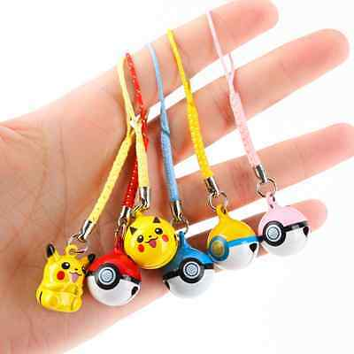 1pc Cute Pikachu Pokemon Ball Cell Phone Charm Strap JINGLE BELLS Dangle Figures