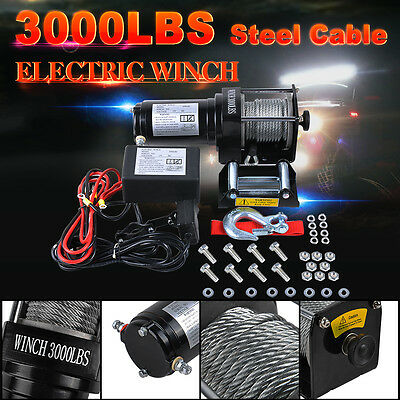 12V 3000LBS/1360kg Electric Winch Wireless Remotes Steel Cable ATV SUV 4WD Boat