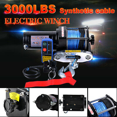 12V Electric Winch 3000LBS/1361KG Synthetic Rope Wireless Remote 4WD ATV Boat