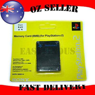 Genuine PS2 8MB MEMORY CARD BLACK color  NEW & SEALED ship AU stock same as pic