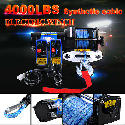 Electric Winch 4000LBS/1814KG 12V Synthetic Rope 2 Wireless Remote 4WD ATV Boat