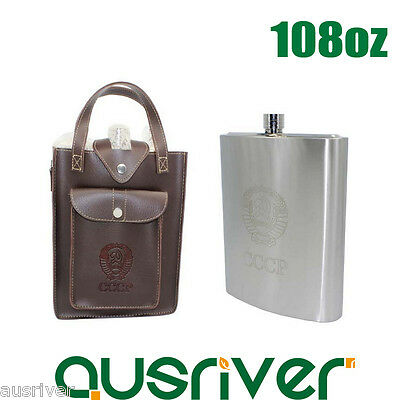 108oz Stainless Steel Hip Flask Liquor Whiskey Alcohol Bottle+Leather Bag Gift