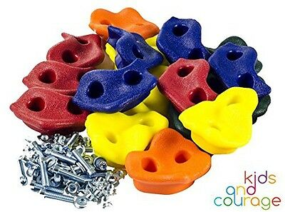 Kids and Courage 25 Textured Rock Climbing Holds for Kids with Installation