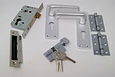 Contract Lever Handle (Euro Cylinder/Turn) -Satin Aluminium Backplate C/w Hinges