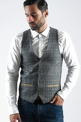 Mens Marc Darcy Designer Grey Tweed Check Waistcoat Formal Vest Size 34-52 Avail