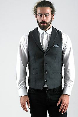 Mens Marc Darcy Designer Charcoal Grey Wool Style Collared Tailored Waistcoat