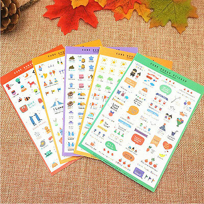 New 10 Sheets Paper Stickers Photo Album Scrapbook Diary Planner DIY Stickers