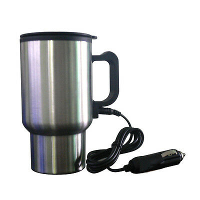 Portable 12V Tea Coffee Water Auto Electric Heater Car Mug Heater Cup Silver New