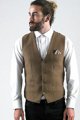 Mens Marc Darcy Designer Tan Brown Wool Style Waistcoat Formal Vest Size 34-52