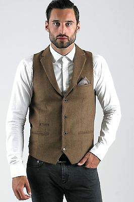 Mens Marc Darcy Designer Tan Brown Wool Style Collared Waistcoat Formal Vest