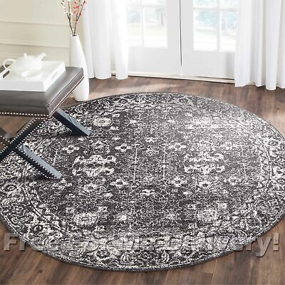SULIS ALLOVER CHARCOAL BLACK TRADITIONAL ROUND RUG (L) 200x200cm **FREE DELIVERY