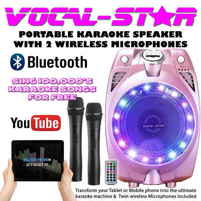 Vocal-Star Portable Pink Karaoke Machine Speaker 2 Wireless Mics & Bluetooth