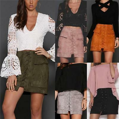 Sexy Women Faux Suede Lace Up Front Vintage High Waist Casual A Line Mini Skirt