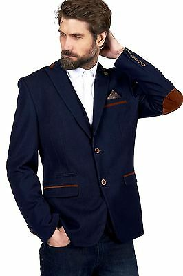 Mens Marc Darcy Designer Denim Look Navy Blue Blazer Formal Jacket Size 34-52