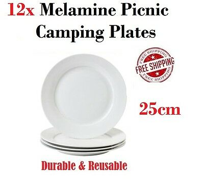 Picnic Plates 25cm x12 Camping Travel Melamine Party Plate Dinnerware Set NEW