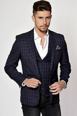 Mens Marc Darcy Designer Navy Blue & Purple Check Blazer Tailored Jacket