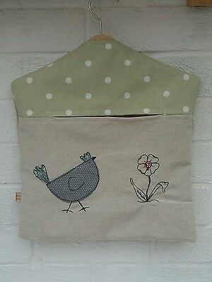 Handmade Peg Bag with Chicken and flower free motion Embroidery