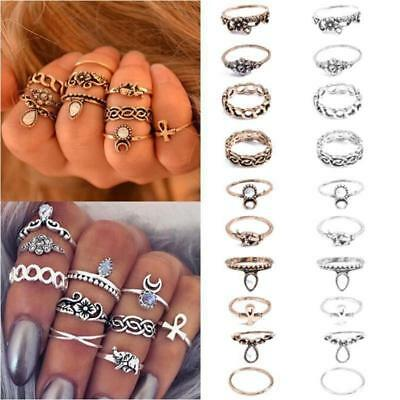 10Pcs/ Set Retro Silver Gold Boho Arrow Moon Midi Finger Knuckle Rings Gifts B