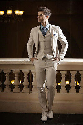 Beige Notch Lapel Men Suits Slim Fit Costum Wedding Suit Groom Tuxedos Prom Suit