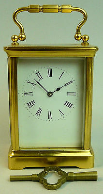 Antique French Movement Brass Carriage Clock C.1910 Good Working Order