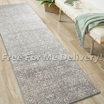 SULIS ALLOVER VINTAGE GREY TRADITIONAL RUG RUNNER (M) 80x300cm **FREE DELIVERY**