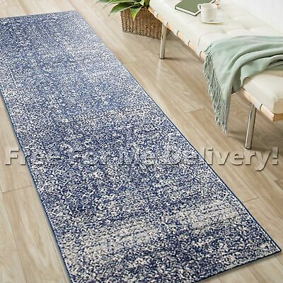 SULIS ALLOVER NAVY BLUE TRADITIONAL RUG RUNNER (XL) 80x500cm **FREE DELIVERY**