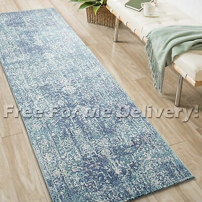 SULIS MEDALLION BLUE IVORY TRADITIONAL RUG RUNNER (M) 80x300cm **FREE DELIVERY**