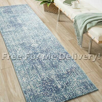 SULIS MEDALLION BLUE IVORY TRADITIONAL RUG RUNNER (L) 80x400cm **FREE DELIVERY**