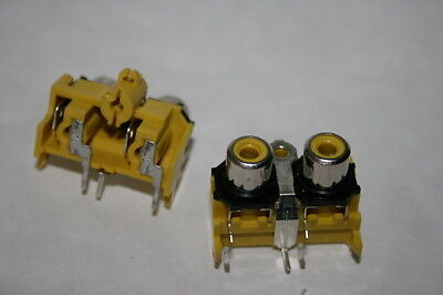 TWIN PANEL PHONO RCA FEMALE SOCKET YELLOW                            fd1a28