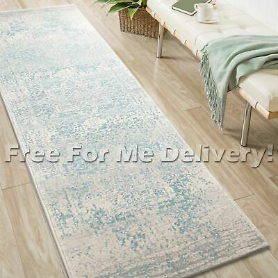 SULIS MEDALLION IVORY BLUE TRADITIONAL RUG RUNNER (L) 80x400cm **FREE DELIVERY**
