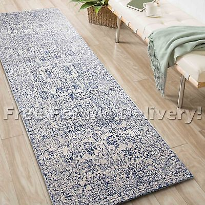 SULIS ALLOVER BEIGE BLUE TRADITIONAL RUG RUNNER (L) 80x400cm **FREE DELIVERY**