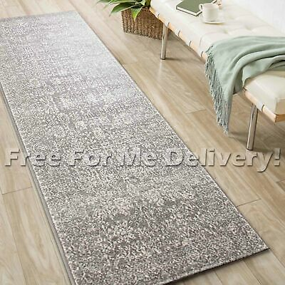 SULIS ALLOVER VINTAGE GREY TRADITIONAL RUG RUNNER (L) 80x400cm **FREE DELIVERY**