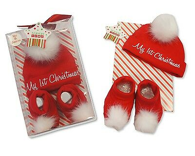 2 Piece Baby's First Christmas Hat and Booties Set Gift - Boxed