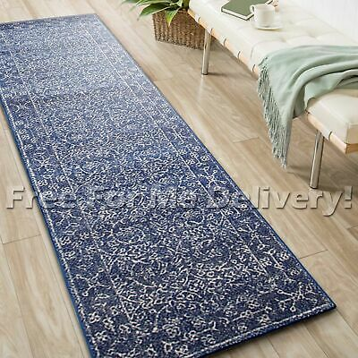 SULIS ALLOVER NAVY BLUE TRADITIONAL RUG RUNNER (M) 80x300cm **FREE DELIVERY**