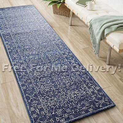 SULIS ALLOVER NAVY BLUE TRADITIONAL RUG RUNNER (L) 80x400cm **FREE DELIVERY**