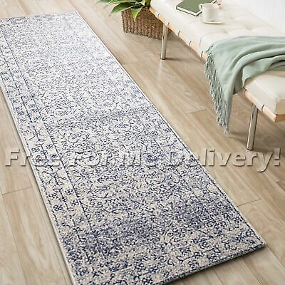 SULIS ALLOVER IVORY BLUE TRADITIONAL RUG RUNNER (M) 80x300cm **FREE DELIVERY**