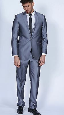 Mens Marc Darcy Designer Shiny Grey Tonic Two Piece Wedding Party Suit