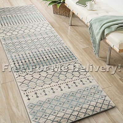 SULIS MOROCCAN IVORY BLUE GREY MODERN RUG RUNNER (XL) 80x500cm **FREE DELIVERY**