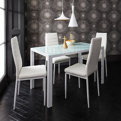 Dining Table and 4 Chairs Set / Glass Dining Table Black and White